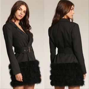 COCO Feather Trimmed Blazer Dress